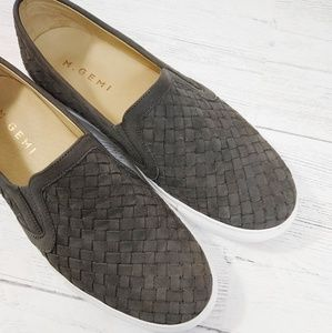 M. Gemi Cerchio Leather Woven Slip-on Sneaker